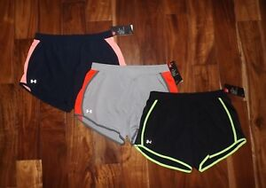 NWT Womens Under Armour Gray Navy Black Fly By Performance Shorts S M L XL