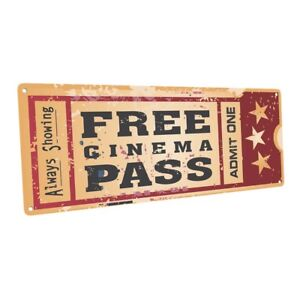 Home Cinema Movie Ticket  Metal Sign; Wall Decor for Home Theater or Family Room