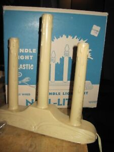 Set of 2 Vintage Noel Lites Electric Indoor 3 Candle Window Christmas Lights