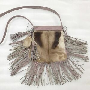 New women's pink bag from real goat fur & leather with leather fringe small