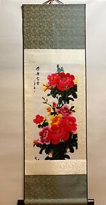 1 pc of Chinese Silk Scroll  Wall Hanging in Theme of Flowers and Bamboo