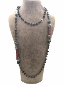 Turkish Handmade Jewelry Coral Onyx 925 Silver Woman Necklace 35