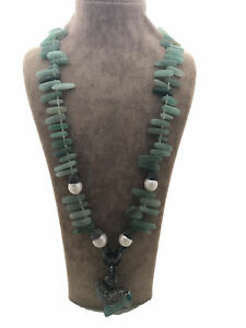 Turkish Handmade Jewelry Jade Pearl 925 Silver Woman Necklace 23