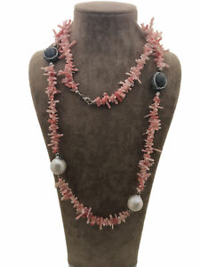 Turkish Handmade Jewelry Coral Pearl 925 Silver Woman Necklace 35