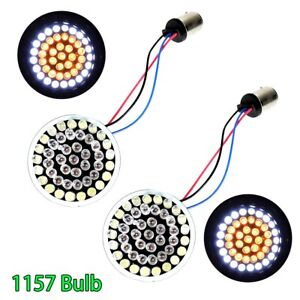 Bullet Style 1157 Amber/White LED Turn Signal Inserts For Harley Sportster Dyna