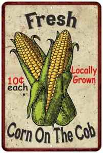 Fresh Corn on the Cob Kitchen Vintage Look Chic  Metal Sign 108120020064