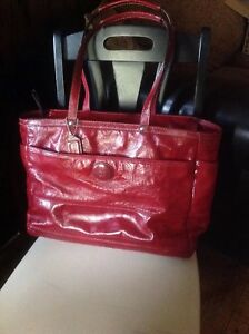 Coach Red Patent Leather XL Purse Tote Diaper Laptop Bag