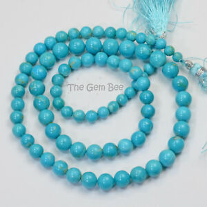 4.2MM-7MM Sleeping Beauty Turquoise Smooth Round Rondelle 18 inch strand