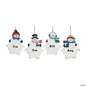 4 Resin Snowman w/ Snowflake Christmas Tree Ornaments Personalized Holiday Gift