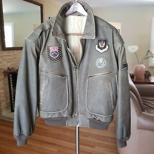 MEN'S BROWN LEATHER FLIGHT BOMBER JACKET SIZE XL