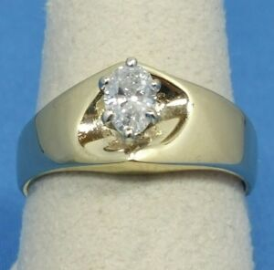14k Gold Marquise Diamond Engagement Ring