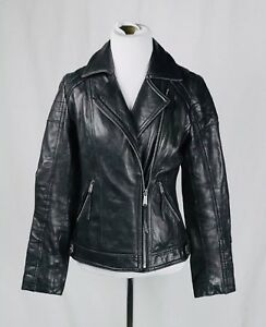 Michael Kors Black Leather Moto Biker Jacket Size XS