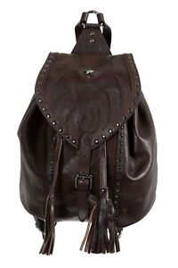 Just Cavalli 100% Leather Brown Embellished Women's Backpack