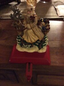 Rare Vintage 3D Victorian Look Santa Father Christmas Cast Iron Stocking Holder