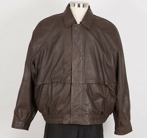 Men's Leather Bomber Jacket 2XL XXL Brown Flannel Lined JOHN ASHFORD