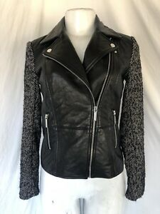 Michael Kors Size XS 0 Leather Moto jacket with tweed sleeves