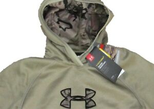$55 NEW GIRLS UNDER ARMOUR ICON Caliber Hoodie sz LARGE OATMEAL TAN Camo STORM