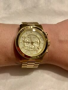 MICHAEL KORS Chronograph Runway Gold-Tone Bracelet Watch 45mm - MK8077