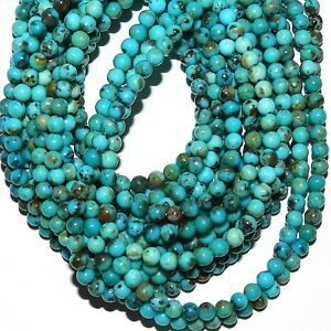 T912 Kingman Mine Natural Blue Turquoise 4mm Round Gemstone Beads 15