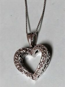 Designer 10k White Gold Heart Pendant and Necklace with Diamond Accents