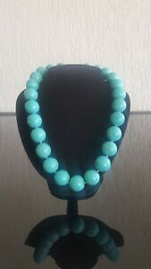 REAL Natural Stone Handmade Turquoise Large Bead Necklace