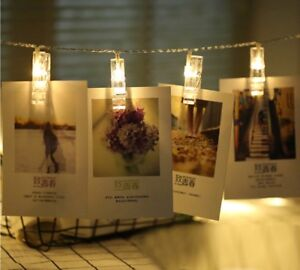 LED Hanging String Lights with Card Photo Clip for Bedroom Room Party Xmas Decor