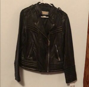 Michael Kors Fitted Black Leather Moto Motorcycle Jacket Medium