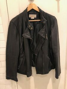 Michael Kors Womens Soft Leather Motorcycle Moto Bomber Jacket XL