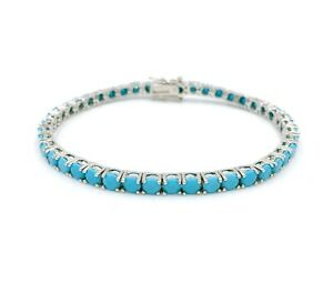 925 Sterling Silver Turquoise Tennis Bracelet 7.5