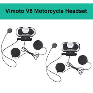 2X Vimoto V8 Motorcycle Helmet Headset Stereo Earphone Interphone For Cell Phone