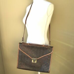 Vintage Authentic Escada Paisley Brown Leather Book Bag Square Purse