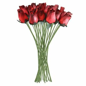 Red Wooden Roses Artificial Realistic 32 Count