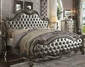 Silver PU Antique Platinum Finish King Bed Acme Furniture 26837EK Versailles II