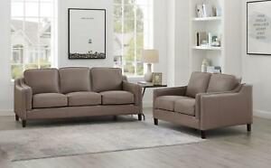 Top Grain Leather Taupe Sofa Set 2 Pcs Hydeline Richard Amax Leather Classic