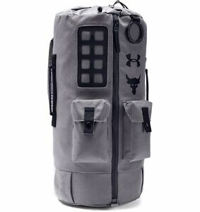 Under Armour Project Rock 60 Duffle Bag Back Pack Grey In Hand