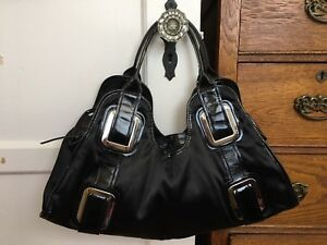 New Nicoli Italian Black Patent Leather Shoulder Bag Satchel Handbag Purse Silk