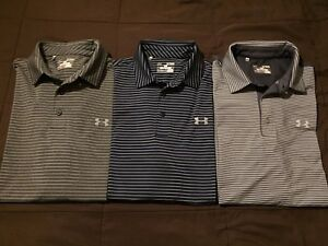 3 New Under Armour Stretch Heat Gear Polo Shirts XL Navy And Grey