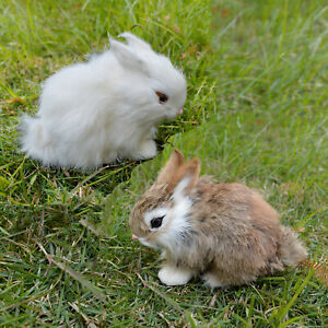 Realistic Rabbit Handmade Easter Bunny Fur Animal Figurine Holiday Photo Prop $8.49