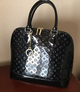 Arcadia INVECE Patent Leather large DOME Hand Bag Black Satchel Italian PURSE