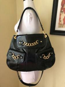 CYNTHIA ROWLEY Black X-Large Patent Leather Handbag Crossbody Purse Gold Chains