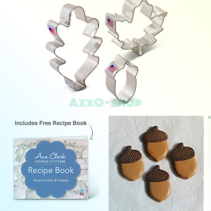 Autumn/Fall / Thanksgiving Cookie Cutter Set with Recipe Book - 3 Piece - Oak...
