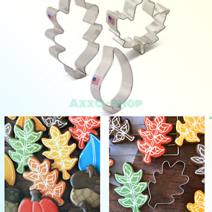 Fall Leaves Cookie Cutter Set with Recipe Book - 3 piece - Maple, Oak and Tea...