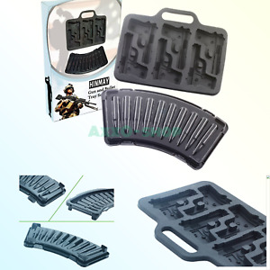 HINMAY 3D Pistol Gun and Bullet Ice Cube Trays Set, AK47 Bullet Mold for Cake...
