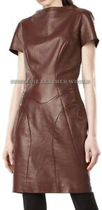 Spring Designer Lamb New Leather Women Dress Cocktail Stylish Party Wear  D-054