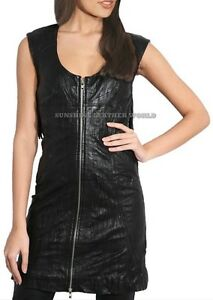 Spring Designer Lamb New Leather Women Dress Cocktail Stylish Party Wear  D-049