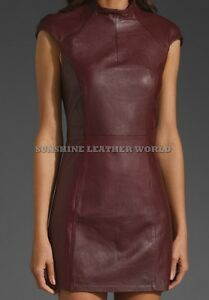 Spring Designer Lamb New Leather Women Dress Cocktail Stylish Party Wear  D-116