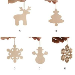Merry Christmas Wooden Pendant Baubles Xmas Tree Hanging Children's (10pcs)