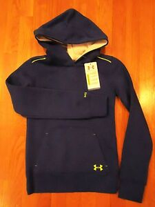 NWT UNDER ARMOUR STORM HOODIE ELECTRIC BLUE GREEN GIRLS YOUTH SMALL LARGE