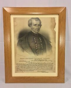 Antique Stone Lithograph of Major General Zachary Taylor w Reproduction 1847 Le