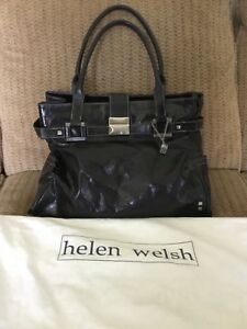 HELEN WELSH Large BLACK Crinkled Patent Leather Shoulder Satchel Handbag Purse